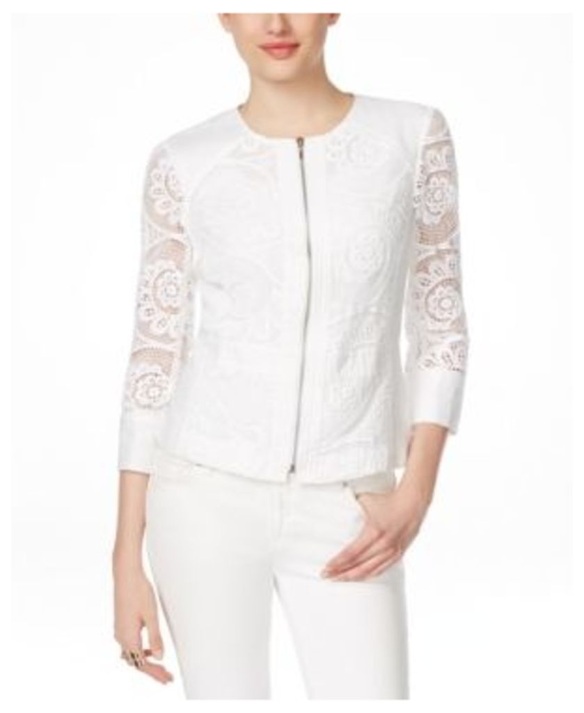 Inc International Concepts Crochet Lace Zip-Front Jacket, Only at Macy's
