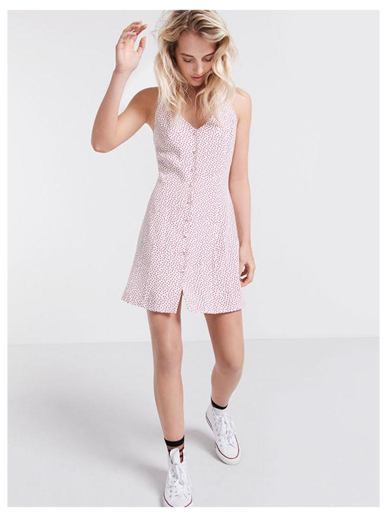 Cream Spot Print Button Through Waisted Dress