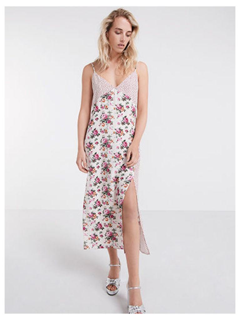 Cream Mixed Print Slip Dress