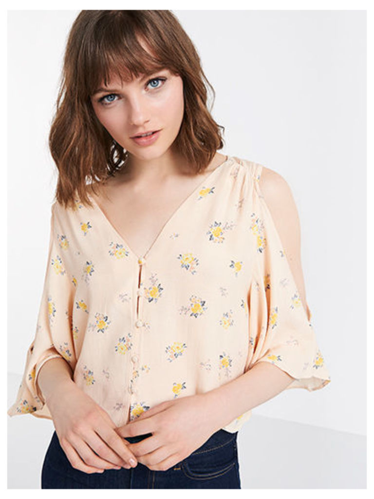 Nude Maria Ditsy Cold Shoulder Blouse