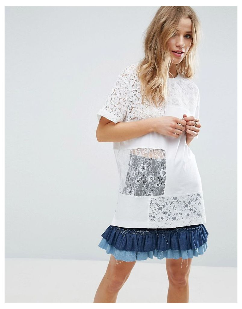 ASOS T-Shirt in Oversized Fit with Cutabout Lace - White
