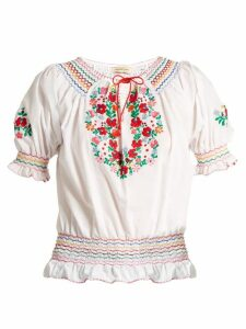 Muzungu Sisters - Dora Embroidered Cotton Top - Womens - White Multi