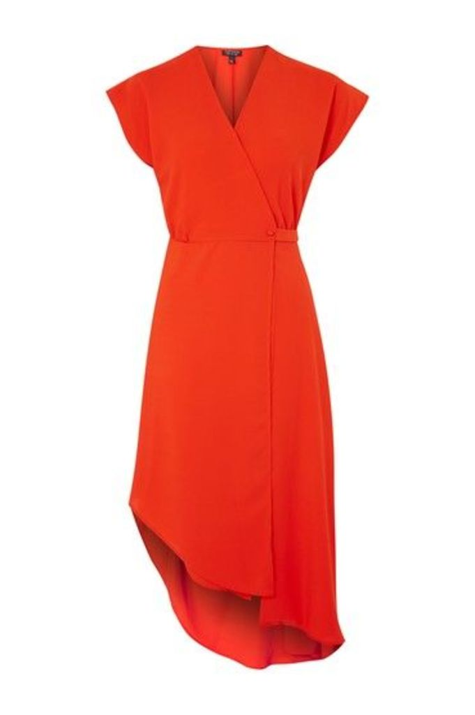 Womens Asymmetric Wrap Dress - Red, Red