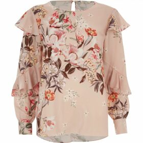 River Island Womens Pink floral print frill long sleeve top