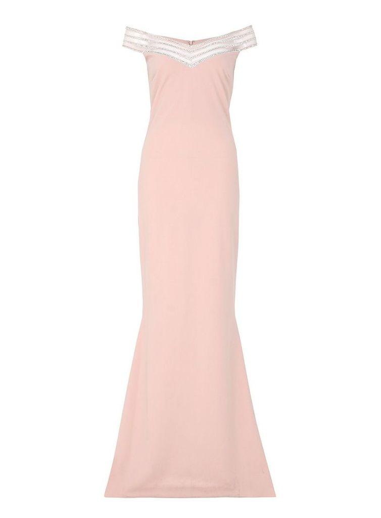 Quiz Nude Crepe Diamante Maxi Dress, Pink