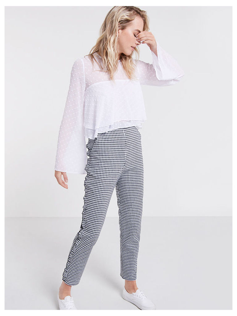 Black Gingham Frill Trousers