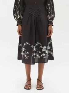 Erdem - Alina Strapless Satin-jacquard Dress - Womens - Burgundy Multi