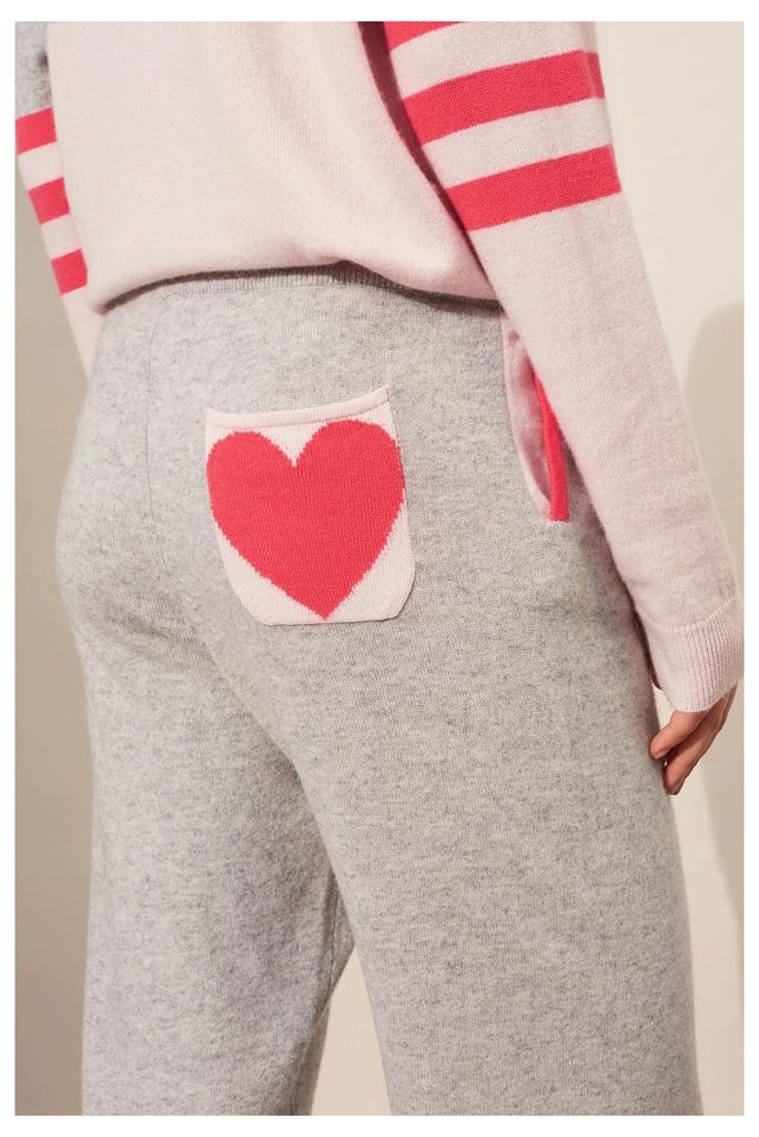 NEW Silver Marl Stripe Heart Cashmere Track Pants
