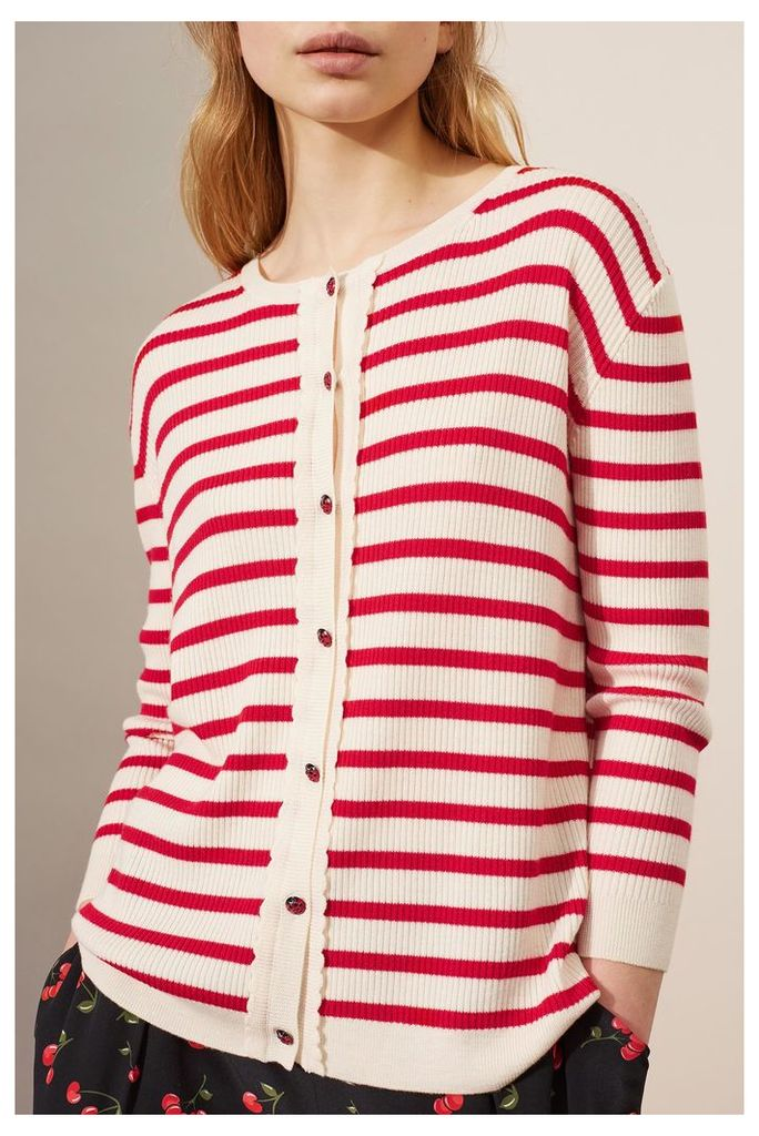 NEW Cream and Cherry Scalloped Breton Cardigan