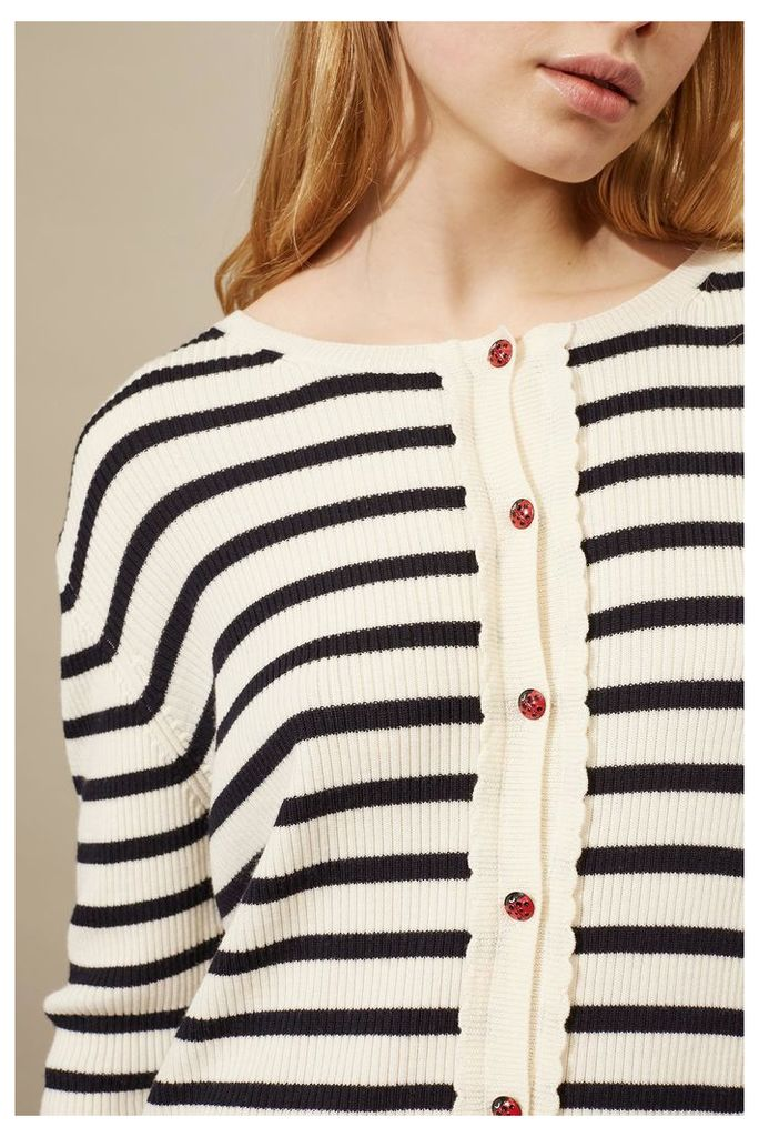 NEW Cream and Navy Scalloped Breton Cardigan
