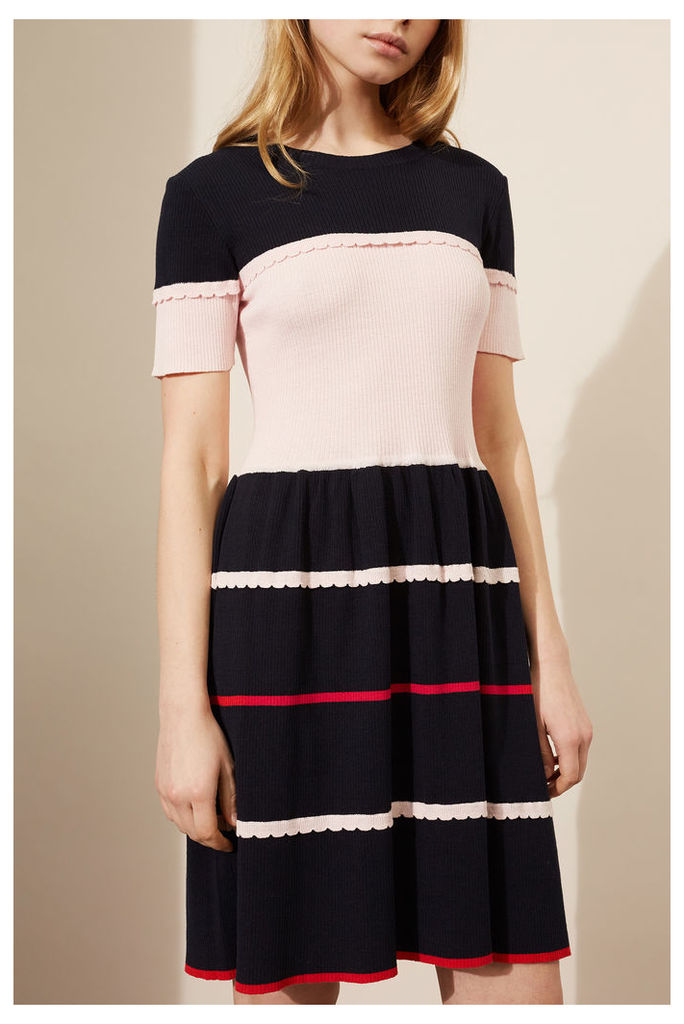 NEW Navy Scalloped Colour Block Dress