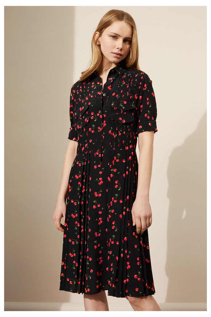 NEW Black Cherry Silk Pleated Shirt Dress