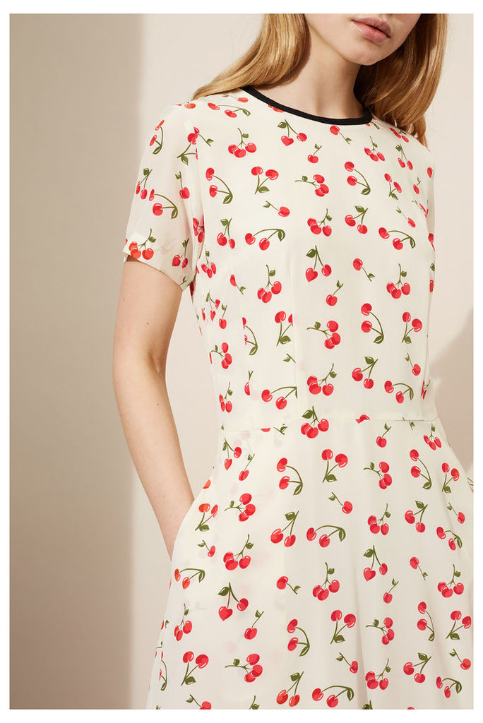 NEW Ivory Cherry Silk Flare Dress