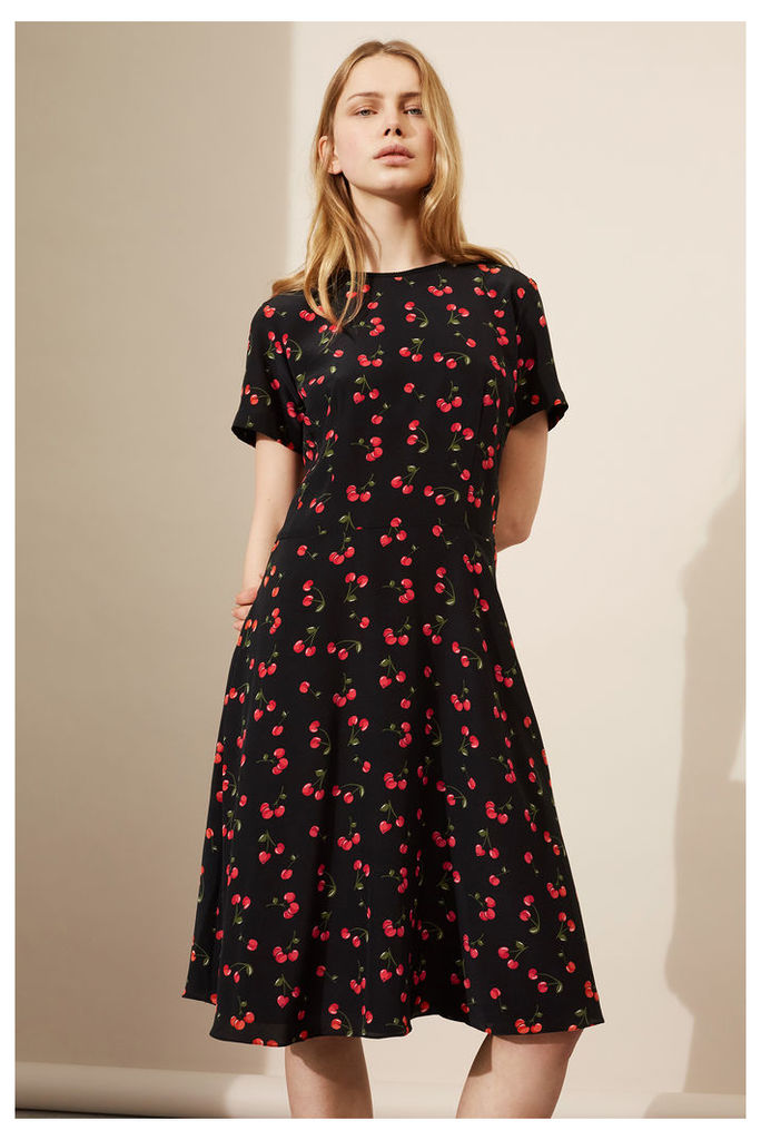 NEW Black Cherry Silk Flare Dress