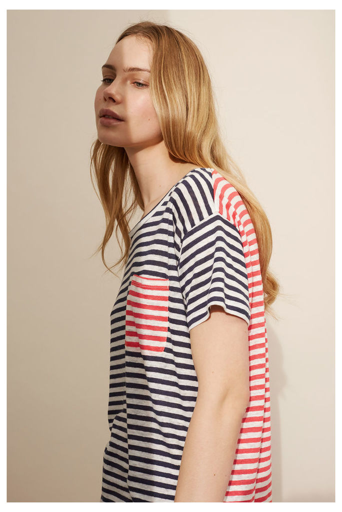 NEW Navy and Coral Breton T-Shirt
