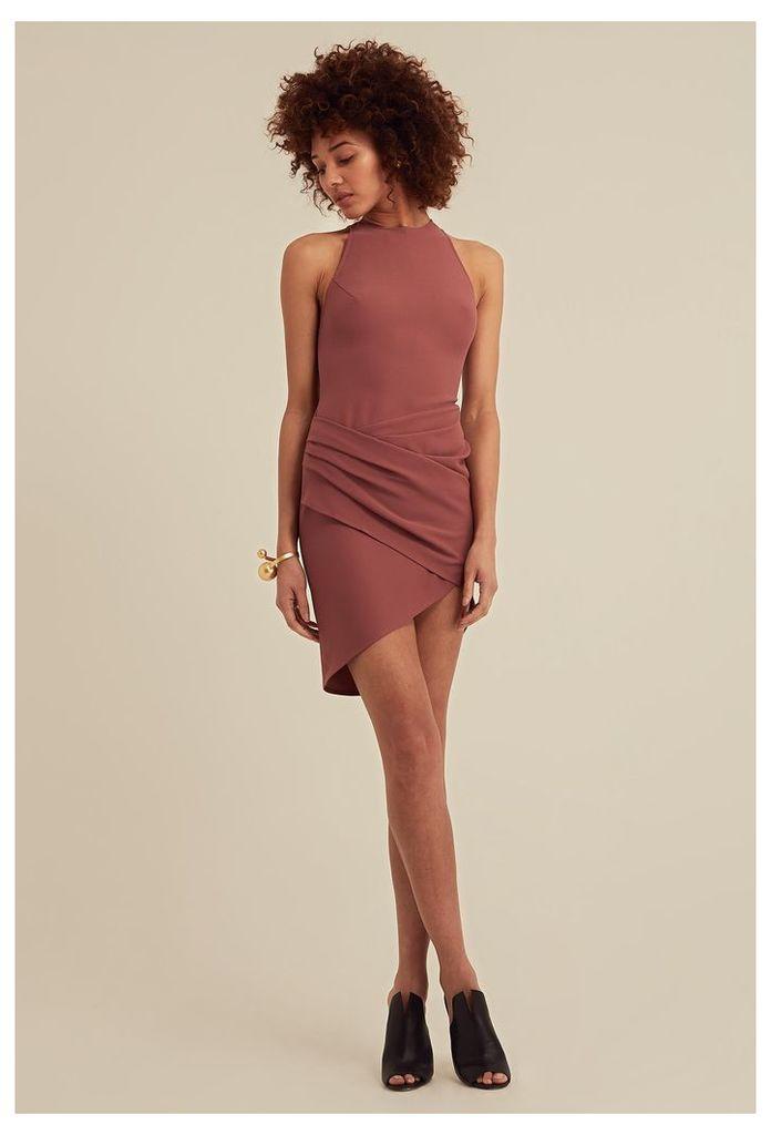 Siana Asymmetric Mini Dress - Ash Rose