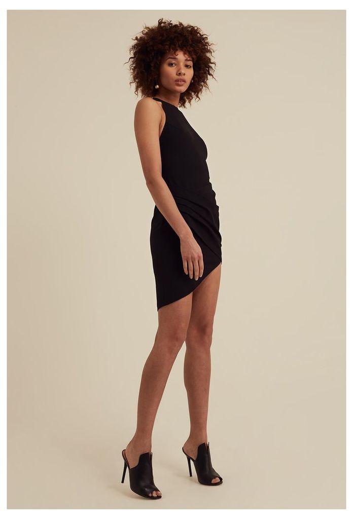 Siana Asymmetric Mini Dress - Black