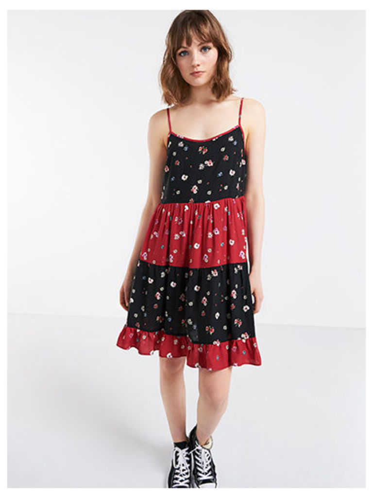 Red Mixed Ditsy Print Tie Back Dress