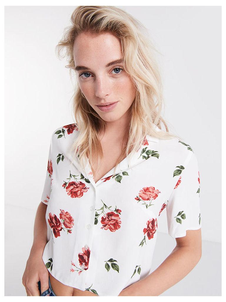 White Lexi Floral Boxy Shirt