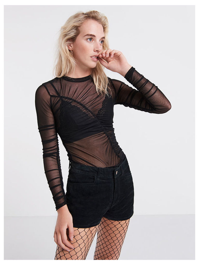 Black Ruched Long Sleeve Mesh Top