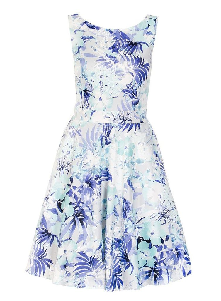 Quiz Blue And Grey Flower Print Dress, Blue