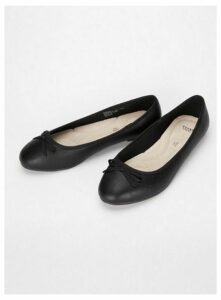 Extra Wide Fit Black Bow Ballet Pumps, Black