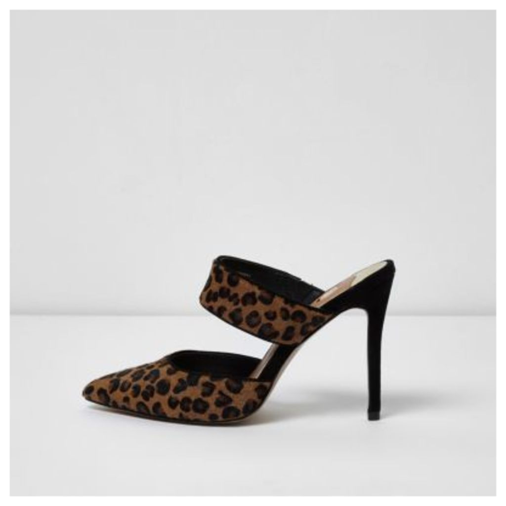 River Island Womens Brown leopard print strap court shoes
