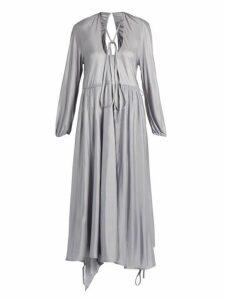 Vetements - Wrap Skirt Satin Jersey Midi Dress - Womens - Silver