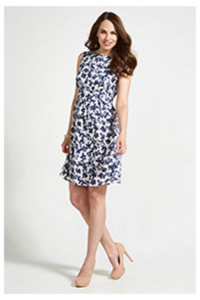 White Navy & Blue Inky Petal Print Structured Dress
