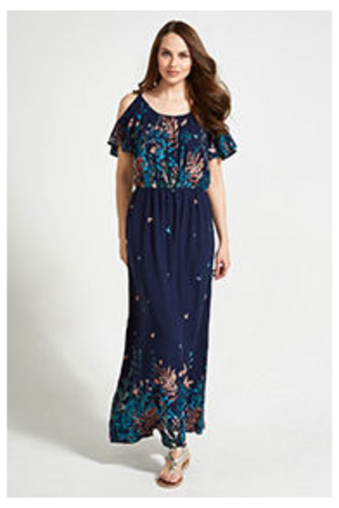 Navy Coral & Blue Floral & Butterfly Print Maxi Dress