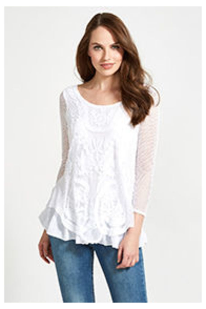 White Embroidered Mesh Tunic Top