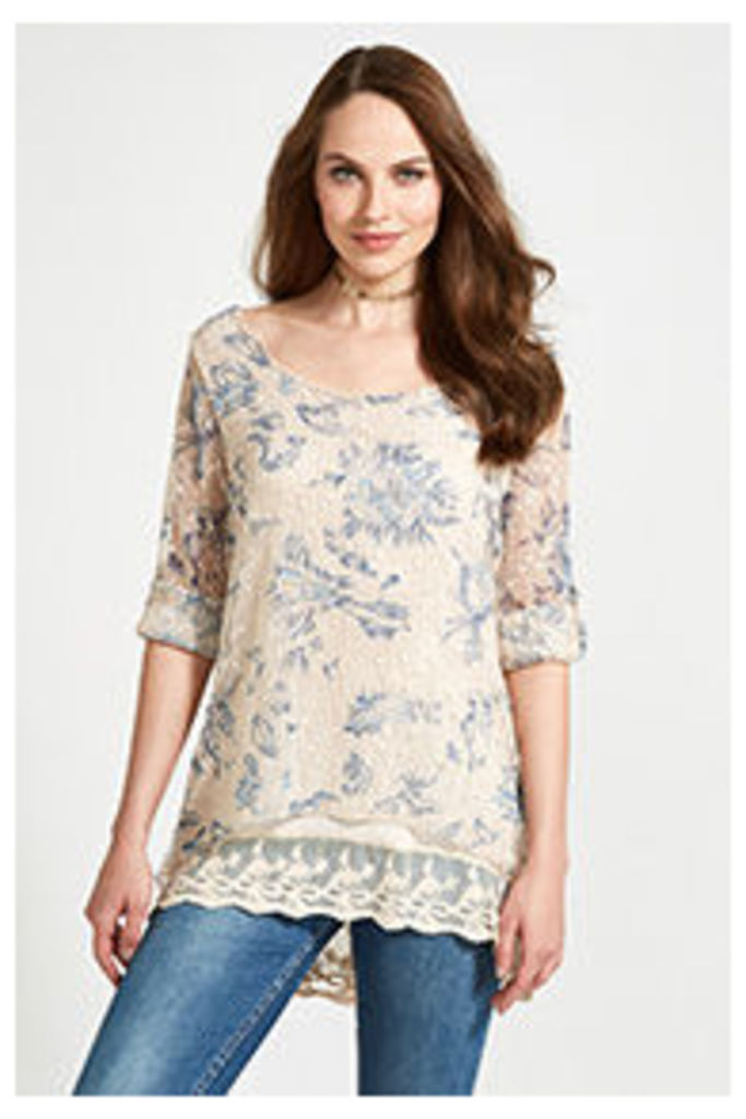 Stone & Blue Falling Petals Print Long Sleeved Top