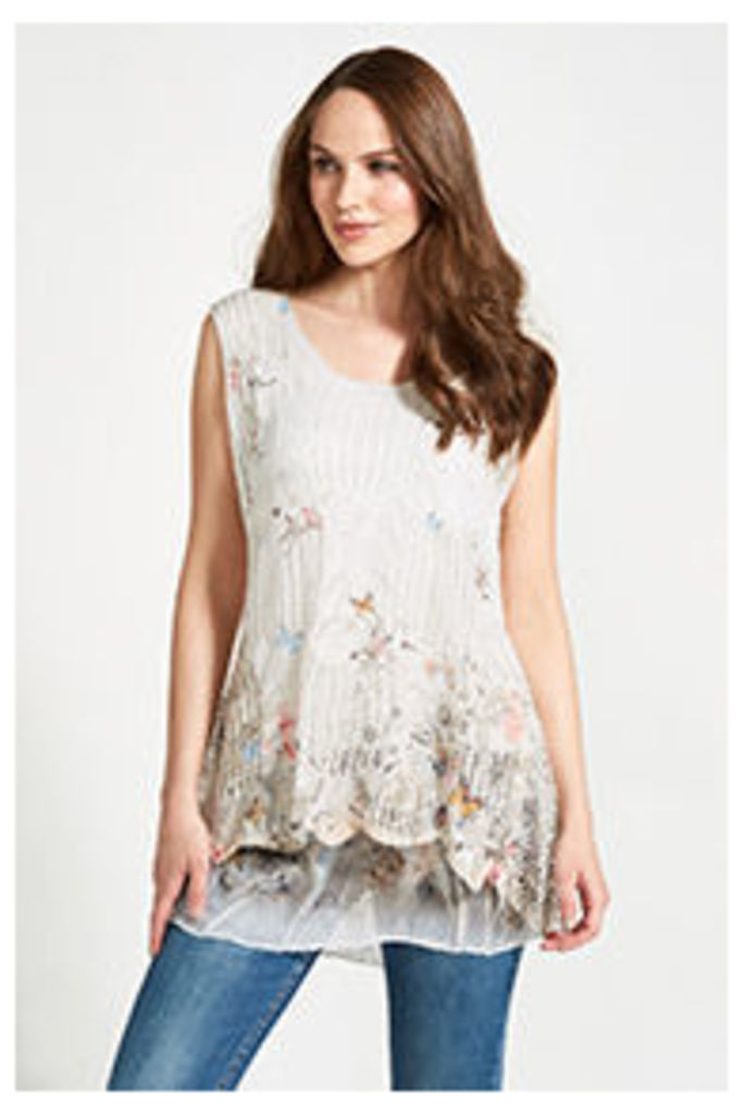 Cream Butterfly & Floral Print Mesh Tunic Top