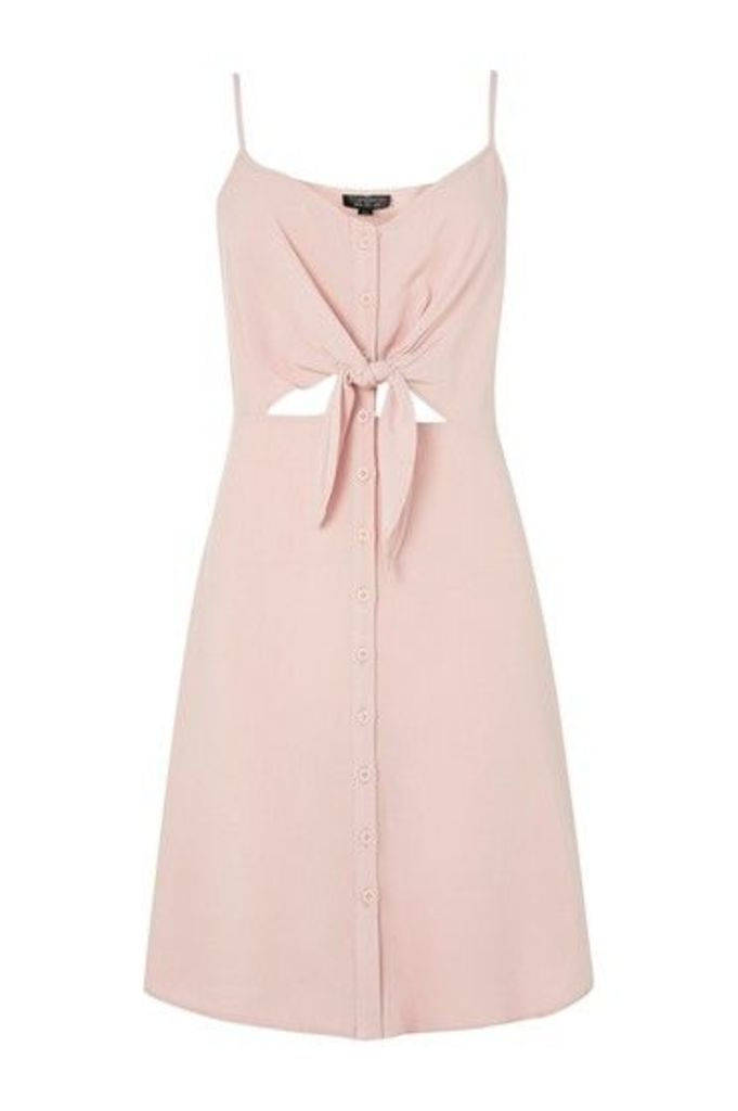 Womens TALL Knot Front Mini Dress - Pink, Pink
