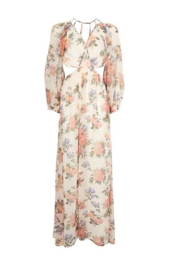 Womens Crinkle Floral Maxi Dress - Ivory, Ivory