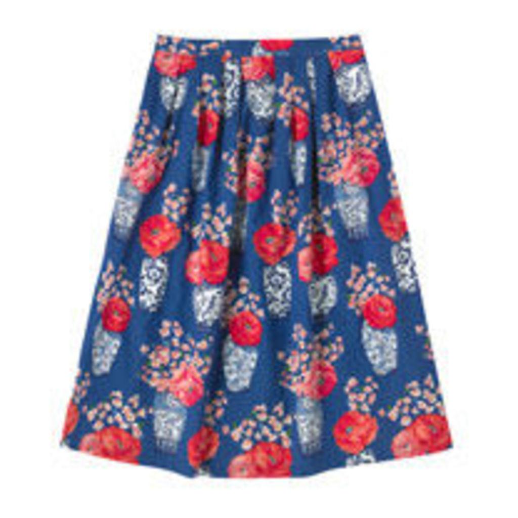 Blossom Vases Pleated Midi Skirt