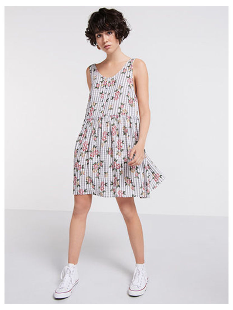 Cream Check Floral Open Back Dress