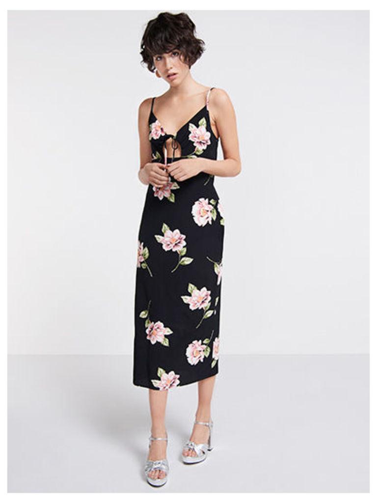 Black & Pink Lou Lou Floral Midi Slip Dress