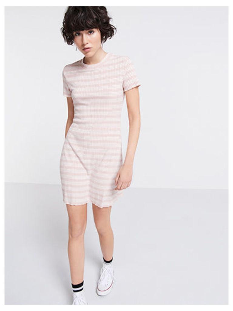 Pink Stripe Ribbed T-Shirt Dress