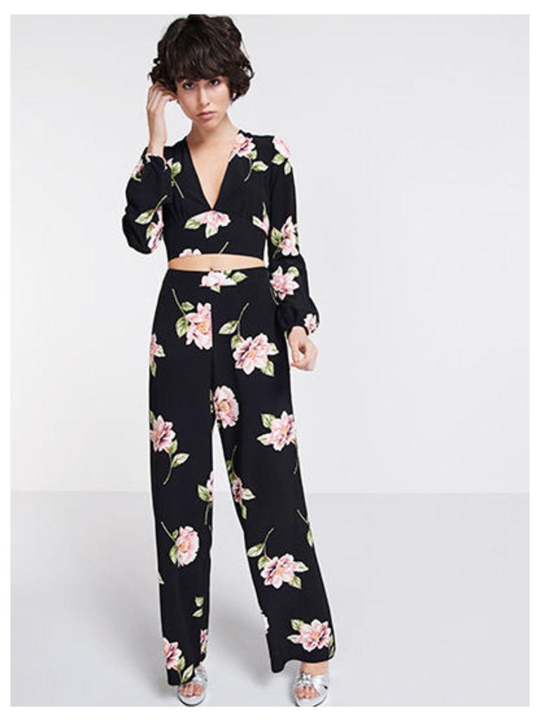 Black & Pink Lou Lou Floral Wide Leg Trousers
