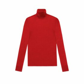 Fine silk blend polo neck knitted top