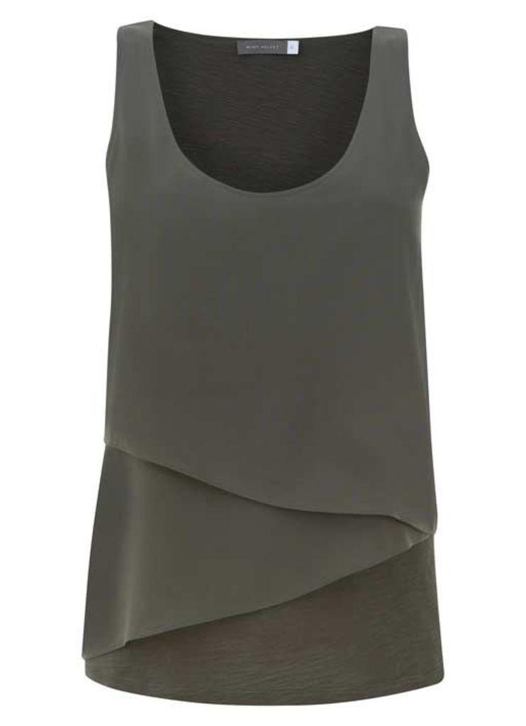 Khaki Asymmetric Double Layer Vest