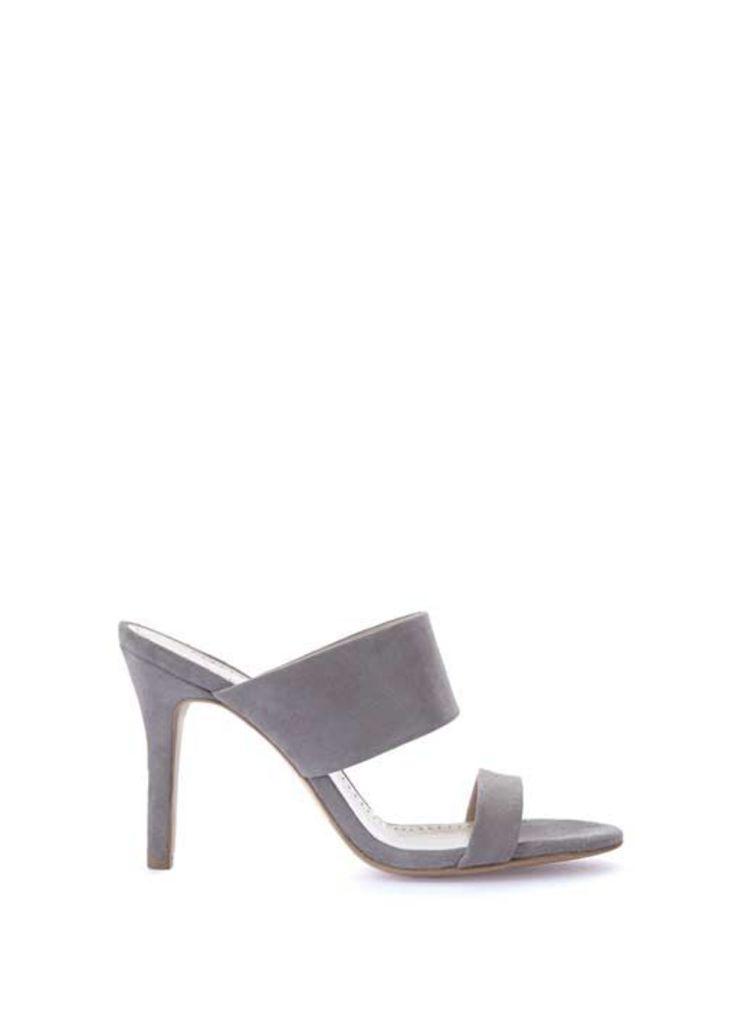 Grey Lillia Suede Slip On Sandals