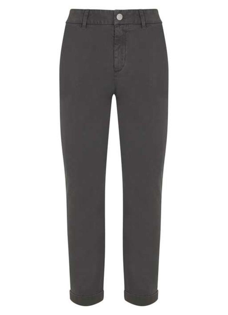 Khaki Casual Turn Up Trouser