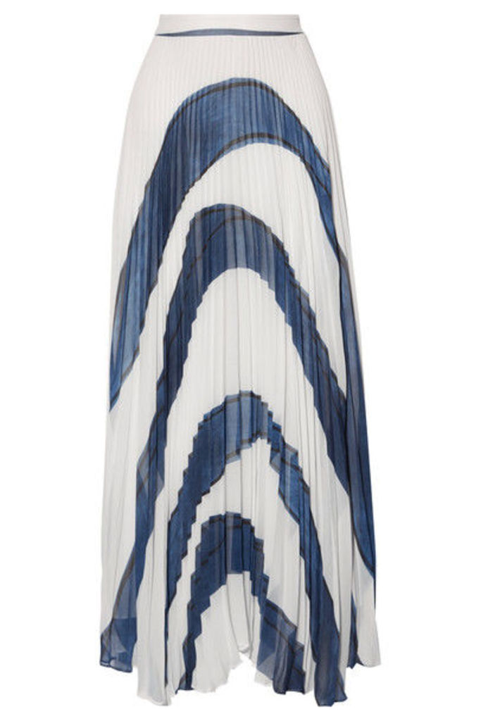 Alice + Olivia - Shannon Asymmetric Pleated Printed Georgette Maxi Skirt - White