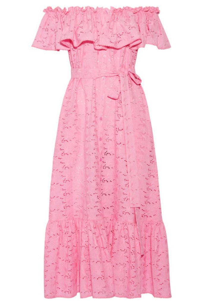 Lisa Marie Fernandez - Mira Off-the-shoulder Broderie Anglaise Cotton Maxi Dress - Pink