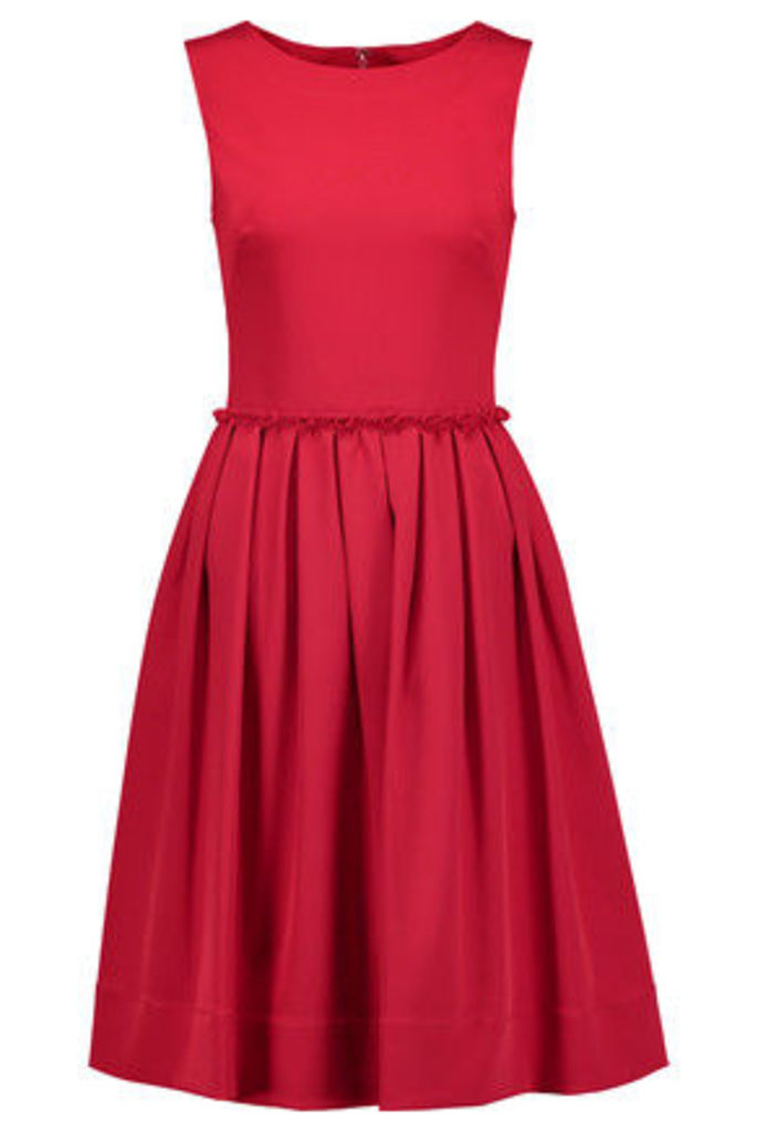 Oscar de la Renta - Pleated Stretch-cady Dress - Claret