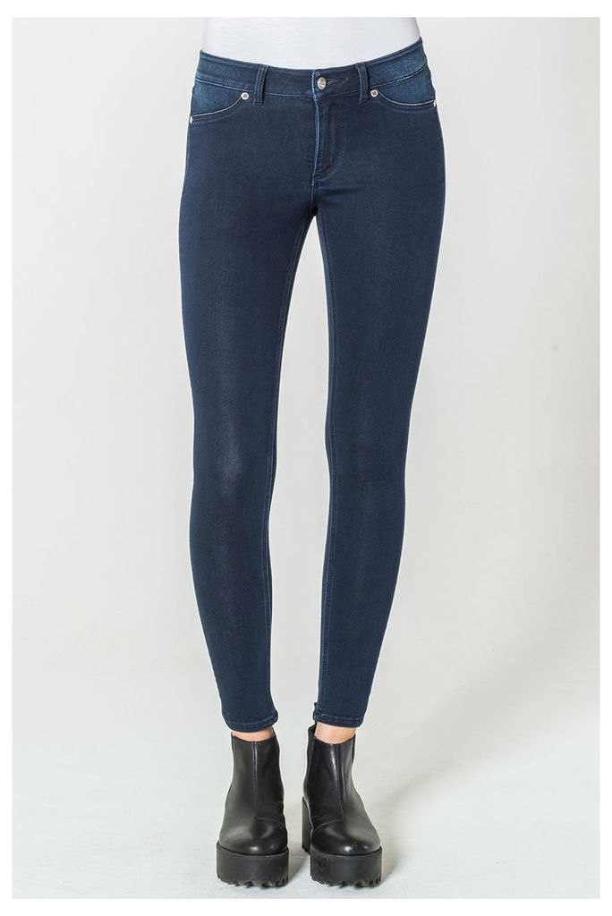 Mid Spray Solid Blue Jeans