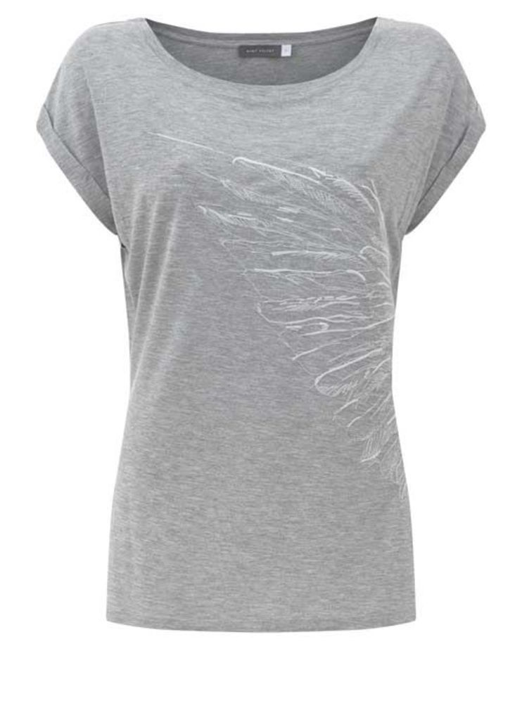 Silver Grey Embroidered Tee