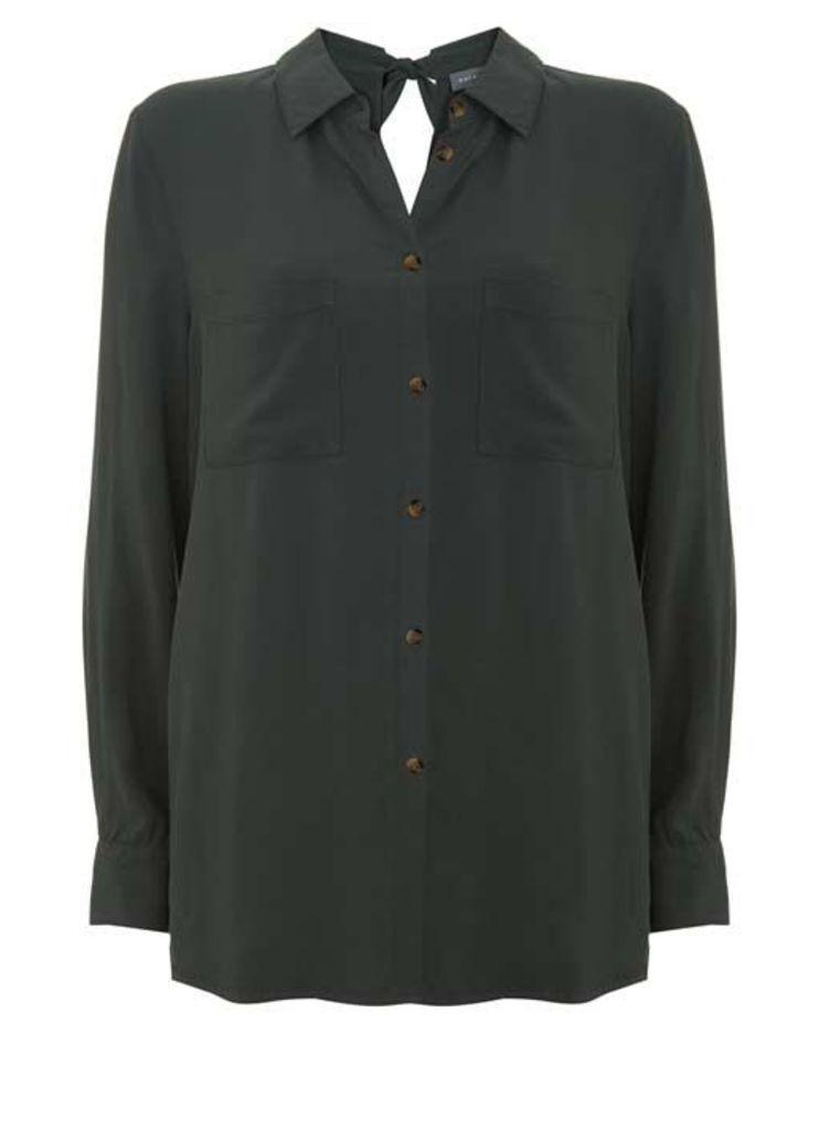Khaki Tie Back Shirt